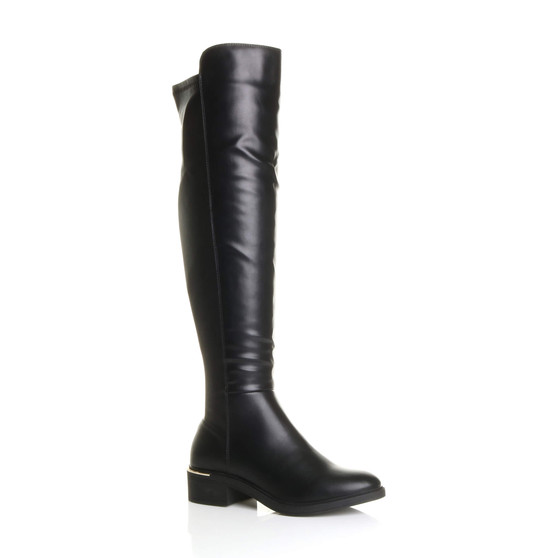 Front right side view of Black PU Low Block Heel Zip Knee High Stretch Pull On Riding Boots