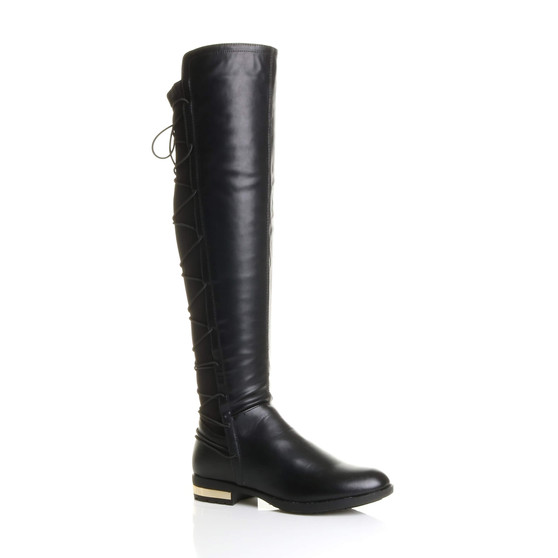 Front right side view of Black PU Low Heel Lace Up Back Stretch Riding Boots