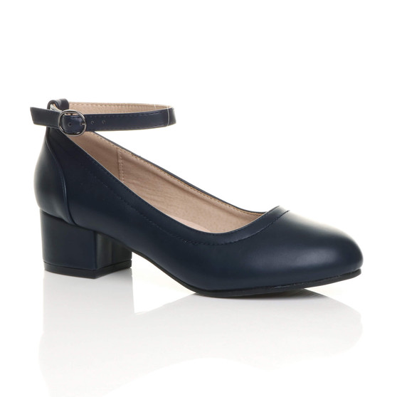Front right side view of Navy PU Low Mid Block Heel Ankle Strap Smart Work Comfort Shoes