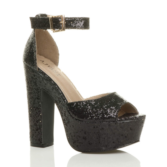 Front right side view of Black Glitter High Block Heel Platform Ankle Strap Sandals