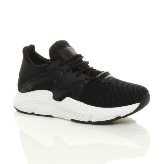 Front right side view of Black Chunky Glitter Mesh Lace Up Trainers Sneakers