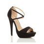 Front right side view of Black Glitter High Heel Crossed Straps Platform Sandals