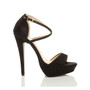 Right side view of Black Glitter High Heel Crossed Straps Platform Sandals