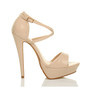Right side view of Nude Patent High Heel Crossed Straps Platform Sandals