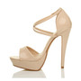 Left side view of Nude Patent High Heel Crossed Straps Platform Sandals