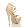 Back right side view of Nude Patent High Heel Crossed Straps Platform Sandals