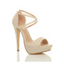 Front right side view of Nude PU High Heel Crossed Straps Platform Sandals