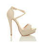 Right side view of Nude PU High Heel Crossed Straps Platform Sandals