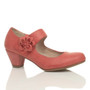 Front right side view of Pale Red PU Flower Mary Jane Padded Comfort Court Shoes