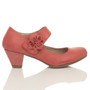 Right side view of Pale Red PU Flower Mary Jane Padded Comfort Court Shoes