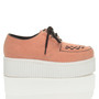 Right side view of Salmon Suede Double Platform Flatform Wedge Brothel Creepers