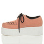 Left side view of Salmon Suede Double Platform Flatform Wedge Brothel Creepers