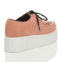Back right side view of Salmon Suede Double Platform Flatform Wedge Brothel Creepers