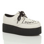 Front right side view of White PU Double Platform Flatform Wedge Brothel Creepers