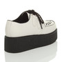 Back right side view of White PU Double Platform Flatform Wedge Brothel Creepers