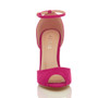 Front view of Fuchsia Pink Suede High Heel Ankle Strap Stiletto Peep Toe Shoes Sandals