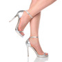Model wearing Silver PU High Heel Ankle Strap Barely There Sandals