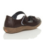 Back right side view of Brown Flat Comfort Flower Mary Jane Shoes