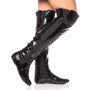 Model wearing Black Patent Flat Stretch Chelsea Over The Knee Boots