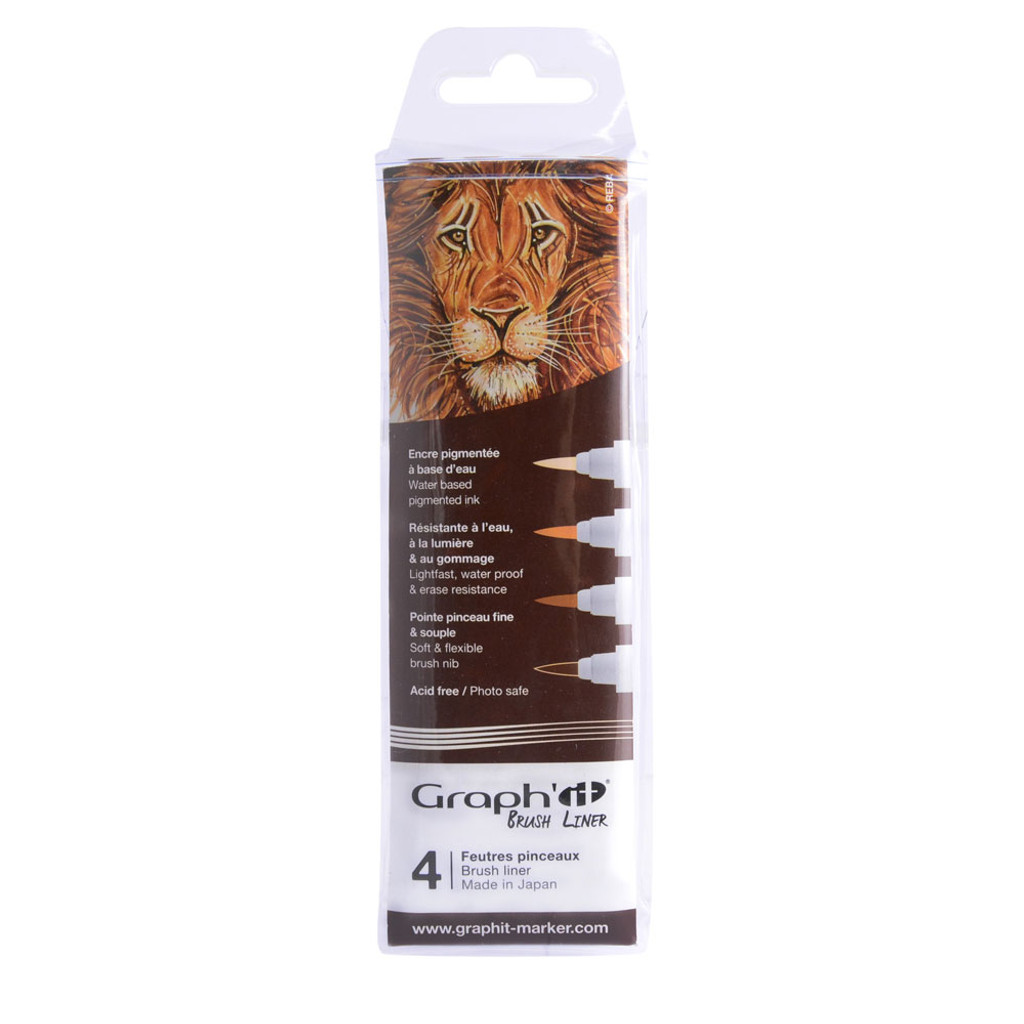 Graph'it Fineliner 4pc Set, Brown Shades
