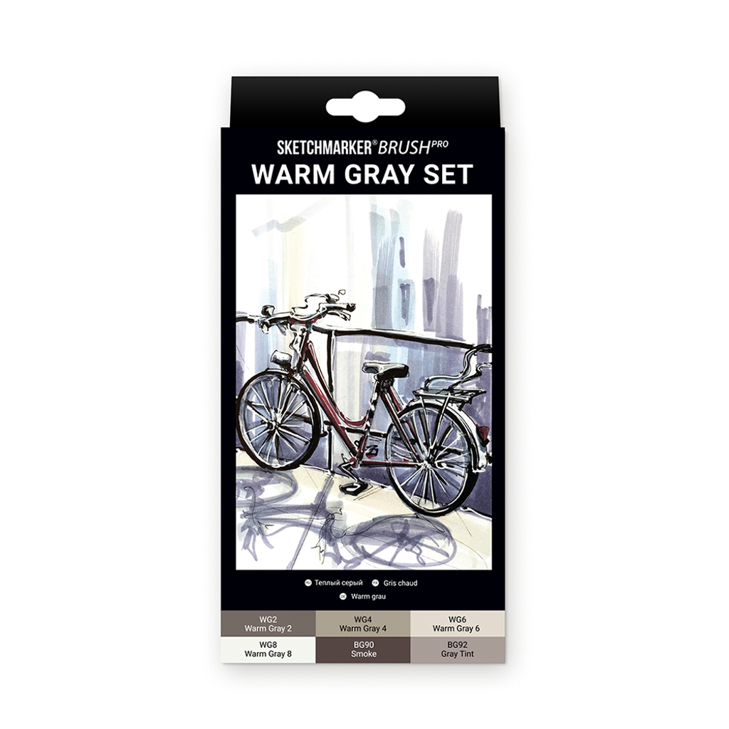 Sketchmarker Brush Pro Alcohol Markers Warm Gray 6pc Set