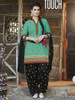 Green and Black color Contrast Combination Pure Cotton Fabric Patiala Suit