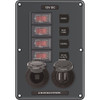 Blue Sea 4321 Circuit Breaker Switch Panel 4 Position - Gray w\/12V Socket  Dual USB [4321]