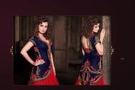 Intricately Embroidered Blue Velvet Kurta and Lehanga with Dupatta