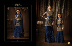 Navy Blue color Raw Silk and Net Fabric Lehenga Choli or Palazzo Suit