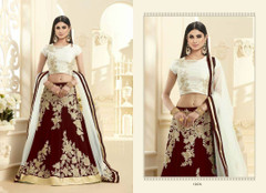 Alluring Maroon and Cream Georgette Lehenga Choli1475