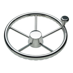"Ongaro 170 13.5"" Stainless 5-Spoke Destroyer Wheel w\/ Stainless Cap and FingerGrip Rim - Fits 3\/4"" Tapered Shaft Helm [1731321FGK]"