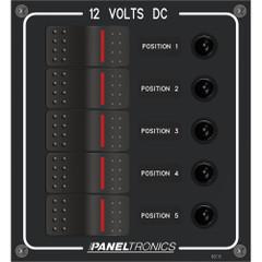 Paneltronics Waterproof Panel - DC 5-Position Illuminated Rocker Switch & Circuit Breaker [9960018B]