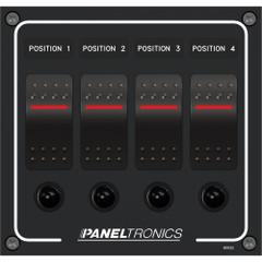 Paneltronics Waterproof Panel - DC 4-Position Illuminated Rocker Switch & Circuit Breaker [9960022B]