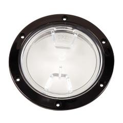 "Beckson 4"" Clear Center Screw Out Deck Plate - Black [DP40-B-C]"