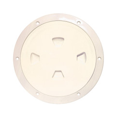 "Beckson 8"" Smooth Center Screw-Out Deck Plate - Beige [DP80-N]"