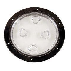 "Beckson 8"" Clear Center Screw-Out Deck Plate - Black [DP80-B-C]"