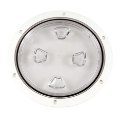 "Beckson 8"" Clear Center Screw-Out Deck Plate - White [DP80-W-C]"