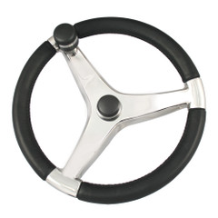 "Ongaro Evo Pro 316 Cast Stainless Steel Steering Wheel w\/Control Knob - 15.5"" Diameter [7241521FGK]"