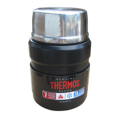 Thermos Stainless King Vacuum Insulated Food Jar w\/Folding Spoon - 16 oz. - Stainless Steel\/Matte Black [SK3000BKTRI4]