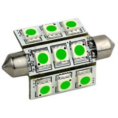 Lunasea Pointed Festoon 9 LED Light Bulb - 42mm - Green [LLB-189G-21-00]