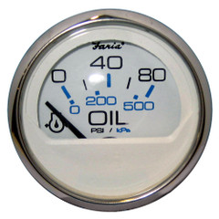 "Faria Chesapeake White SS 2"" Oil Pressure Gauge - 80 PSI [13802]"
