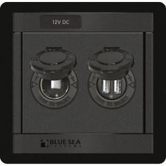Blue Sea 1478 360 Panel - 12V DC Socket & Dual USB Charger [1478]