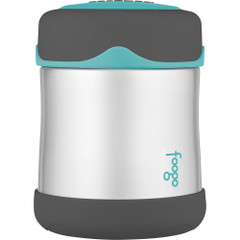 Thermos Foogo Stainless Steel, Vacuum Insulated Food Jar - Teal\/Smoke - 10 oz. [B3004TS2]