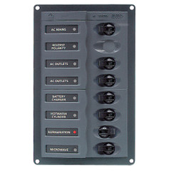 BEP AC Circuit Breaker Panel w\/o Meters, RV 6Way AC Panel w\/Double Pole Mains, Black [900-ACM6W]