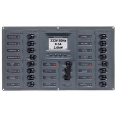 BEP AC Circuit Breaker Panel w\/Digital Meters, 16SP 2DP AC120V ACSM Stainless Steel Horizontal [900-AC4-ACSM-110]