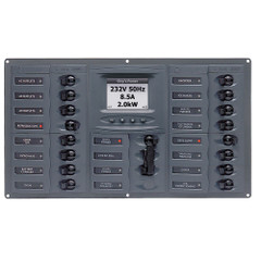 BEP AC Circuit Breaker Panel w\/Digital Meters, 16SP 2DP AC230V ACSM Stainless Steel Horizontal [900-AC4-ACSM]