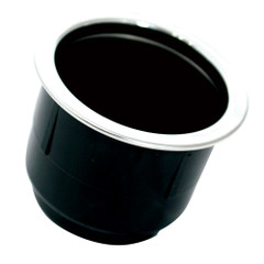 Tigress Black Plastic Cup Holder Insert w\/SS Ring On Top [PCHE-BP]