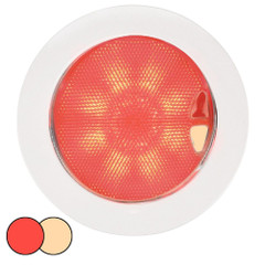 Hella Marine EuroLED 150 Recessed Surface Mount Touch Lamp - Red/Warm White LED - White Plastic Rim [980630102]