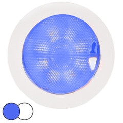 Hella Marine EuroLED 150 Recessed Surface Mount Touch Lamp - Blue\/White LED - White Plastic Rim [980630202]