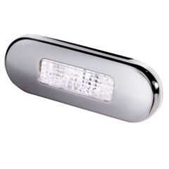 Hella Marine Surface Mount Oblong LED Courtesy Lamp - White LED - Stainless Steel Bezel [980869301]